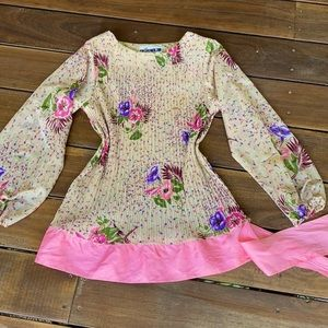 VINTAGE 70's pin pleated floral Top/ Mini dress